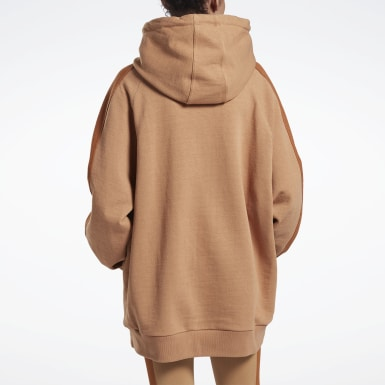Women Fitness & Training Beige VB Oversize Hoodie