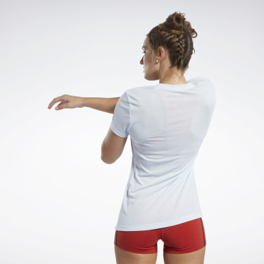 Dames Crosstraining Blauw Reebok CrossFit® T-shirt