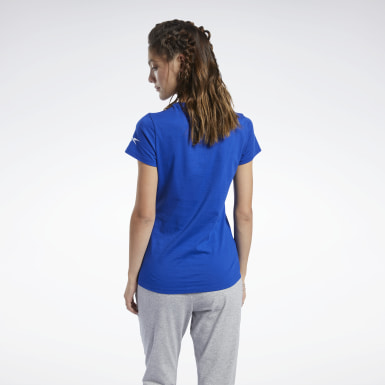 Frauen Fitness & Training Logo T-Shirt Blau
