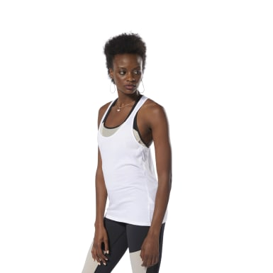 Dames Fitness & Training Wit Racer Tanktop
