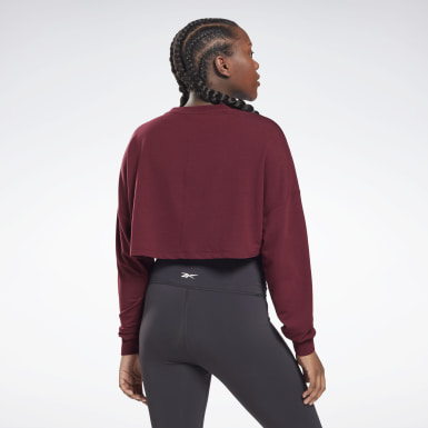 Women Yoga Burgundy Studio Maternity Cropped Long Sleeve Top