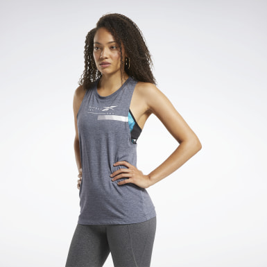 Women Training Blue ACTIVCHILL+COTTON Graphic Tank Top