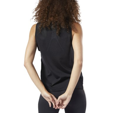 Women Training Black Perforated Performance Tank Top