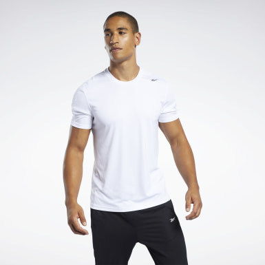 Herr Vandring Vit Workout Ready Polyester Tech Tee
