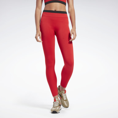 Women Fitness & Training Red VB Seamless Leggings