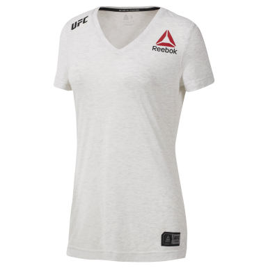 Women Fitness & Training White UFC V-Neck T-Shirt