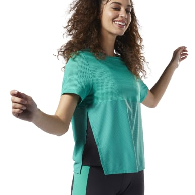 Women Training Green Perforated Performance Tee