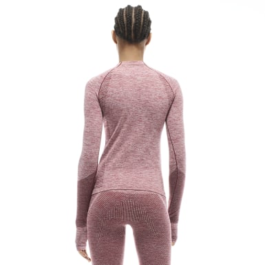 Women Training Pink VB Seamless Textured Long Sleeve Top