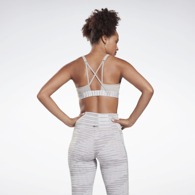 Women Yoga Grey Reebok Hero Medium-Impact Strappy Bra
