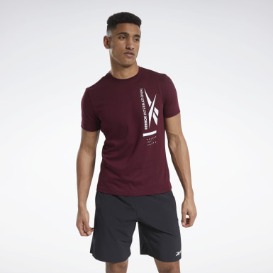 Men Training Burgundy Graphic Tee