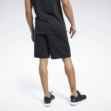Men Fitness & Training Black Knit-Woven Shorts