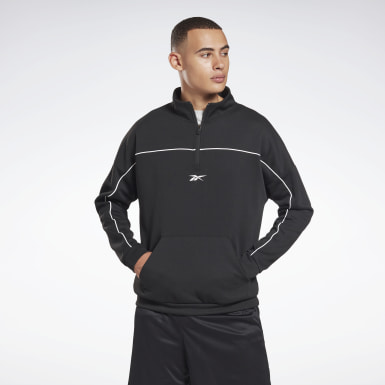 Men Fitness & Training Black Workout Ready Doubleknit Quarter Zip Sweatshirt