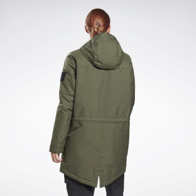 Women Outdoor Green Outerwear Urban Fleece Parka