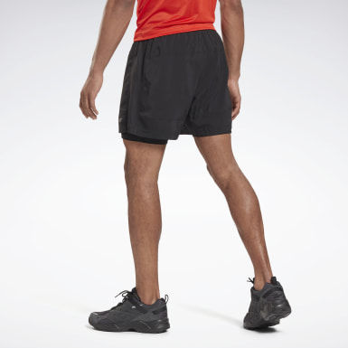 Men Hiking Black Running Essentials Two-in-One Shorts