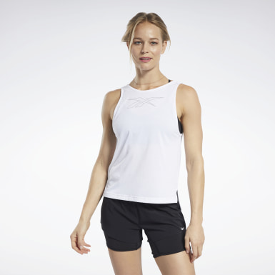 Women Fitness & Training White ACTIVCHILL+COTTON Graphic Tank Top