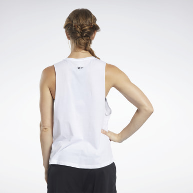 Women Training White Graphic Tank Top