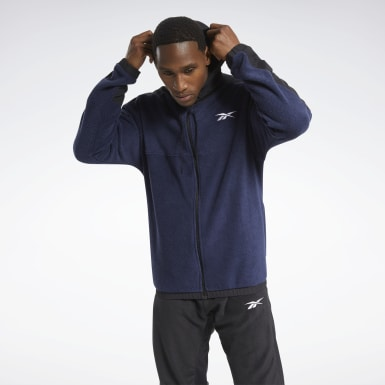 Men Training Blue Workout Ready Fleece Zip-Up Jacket