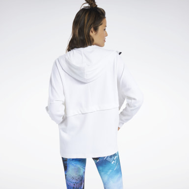 Women Yoga White QUIK Cotton Hoodie
