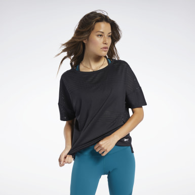 Frauen Yoga Perforated T-Shirt Schwarz