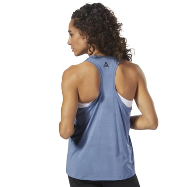 Women Training Blue Perforated Speedwick Tank