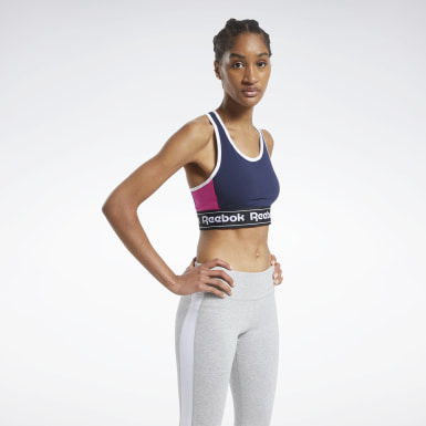 Women Fitness & Training Blue Training Essentials Linear Logo Low-Impact Sports Bralette