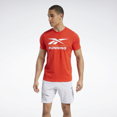 Men Cross Training Red Reebok Running Tee