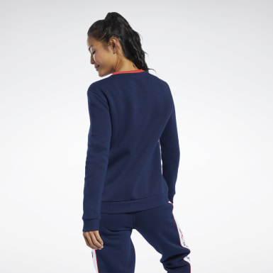 Women Classics Blue Classics Linear Fleece Crew Sweatshirt