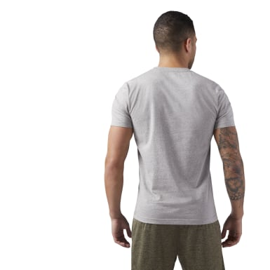 Men Fitness & Training Grey Reebok Linear Read Tee