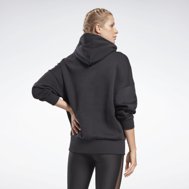 Women Studio Black Retro Oversize Hoodie