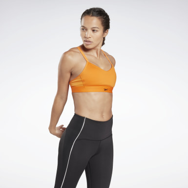 Women Studio Orange Reebok Hero Medium-Impact Strappy Bra