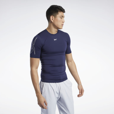 Men HIIT Blue United by Fitness Compression Tee