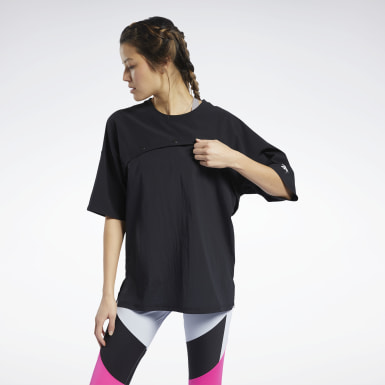 Women Fitness & Training Black Two-in-One Tee