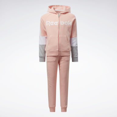 Girls Fitness & Training Pink Two-Piece Reebok Jogger Set