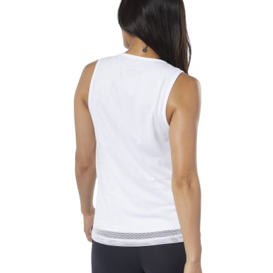 Women Studio White Cardio Performance Tank Top