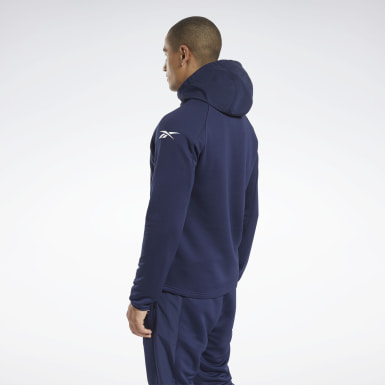 Men Hiking Blue Speedwick Performance Full-Zip Hoodie