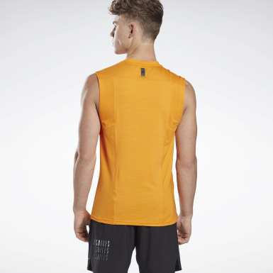 Men Studio Orange LES MILLS® BODYCOMBAT® Muscle Sleeveless Tee