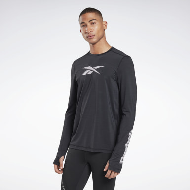 Men Hiking Black Run ACTIVCHILL Long Sleeve Graphic Tee
