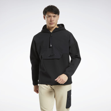 Men Hiking Black Edgeworks Quarter-Zip Parka