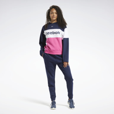 Women Fitness & Training Blue Linear Logo Crewneck Track Suit