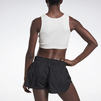 Women Yoga White VB Ribbed Crop Top