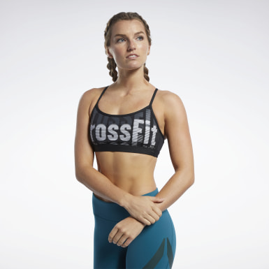 Women Cross Training Black Reebok CrossFit® Medium-Impact Skinny Bra