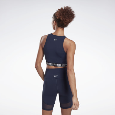 Top crop Les Mills® Beyond the Sweat Azul Mujer Estudio