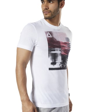 Men Training White Graphic Series One Series Training Photo Print Tee