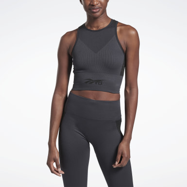 Women Yoga Grey VB Seamless Crop Top