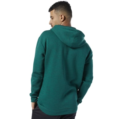Men Training Green Marble Melange Hoodie