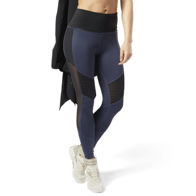 Women Yoga Blue Studio Mesh Tights