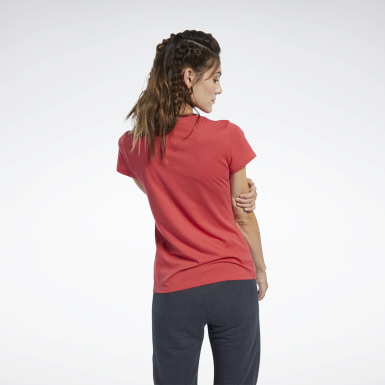 Women Fitness & Training Red Logo Tee