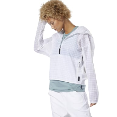 Women Fitness & Training White Training Supply Hybrid Woven Jacket
