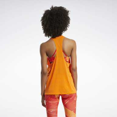 Women Fitness & Training Orange Workout Ready Supremium Tank Top