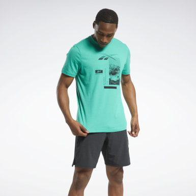 Men Training Green Graphic Tee